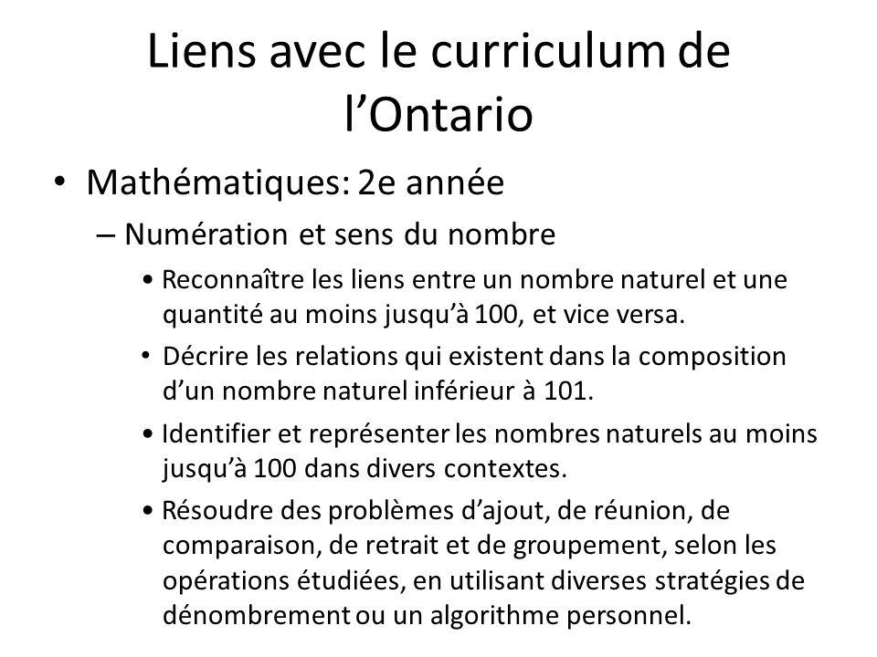 Liens avec le curriculum de lOntario Mathématiques: 2e année – Numération et sens du nombre Reconnaître les liens entre un nombre naturel et une quantité au moins jusquà 100, et vice versa.