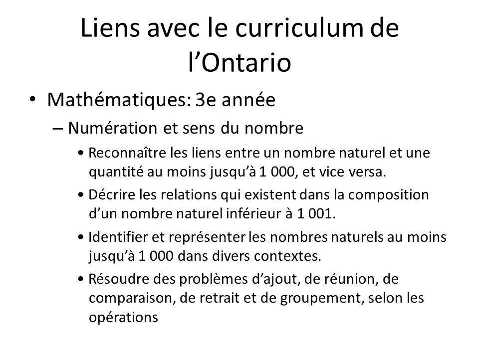 Liens avec le curriculum de lOntario Mathématiques: 3e année – Numération et sens du nombre Reconnaître les liens entre un nombre naturel et une quantité au moins jusquà 1 000, et vice versa.