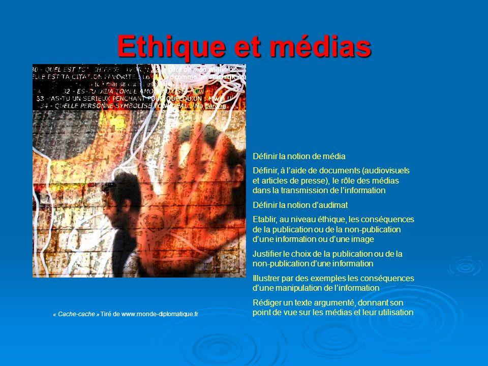 Ethique et médias « Cache-cache » Tiré de www.monde-diplomatique.fr Définir la notion de média Définir, à laide de documents (audiovisuels et articles
