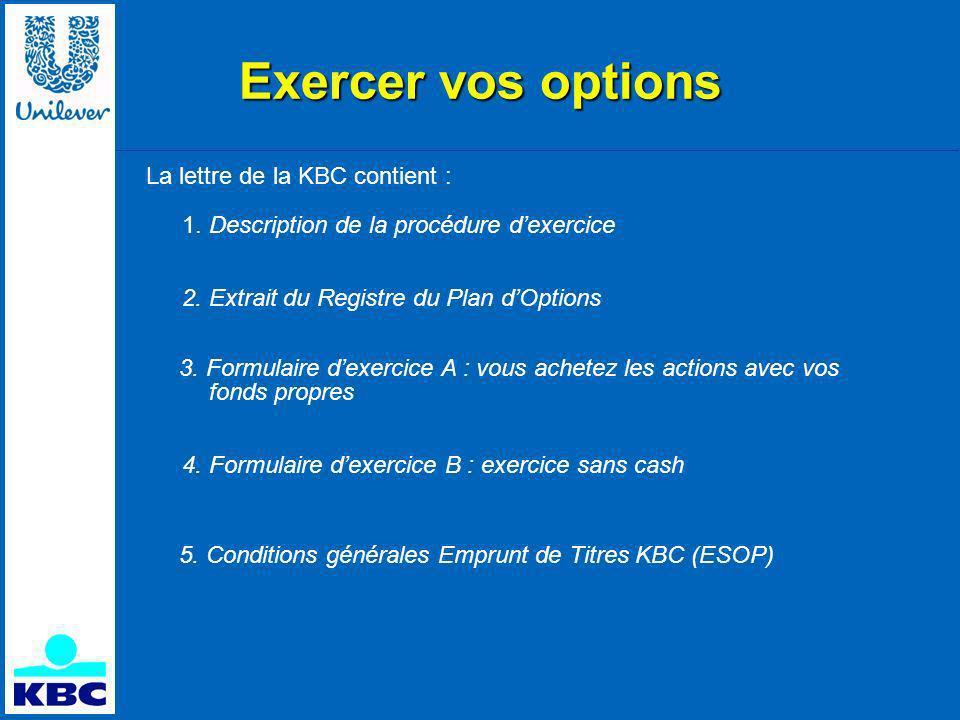 Exercer vos options La lettre de la KBC contient : 1.