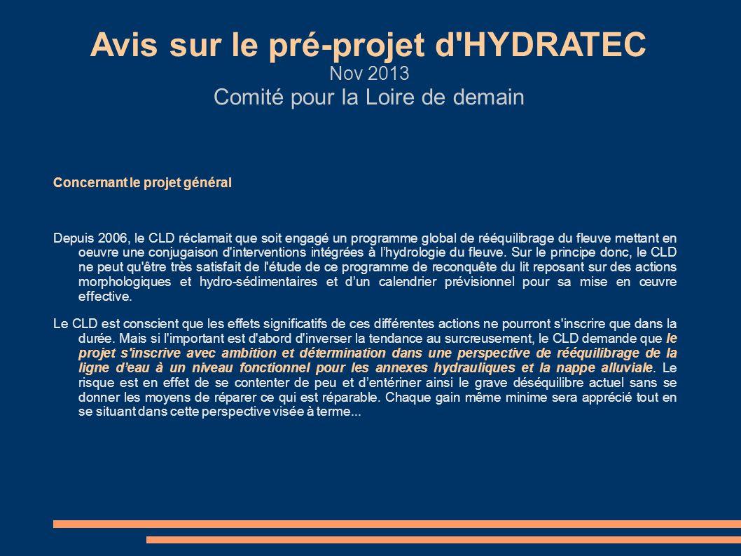 Concernant le projet général Depuis 2006, le CLD réclamait que soit engagé un programme global de rééquilibrage du fleuve mettant en oeuvre une conjug