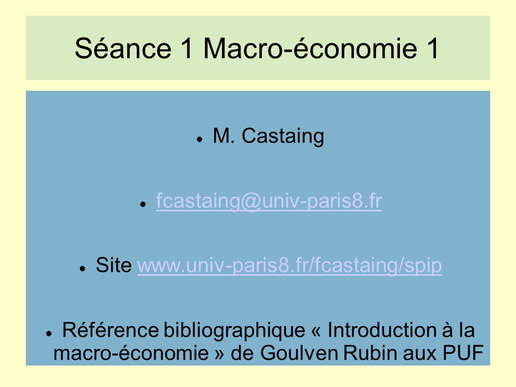 Séance 1 Macro-économie 1 M.