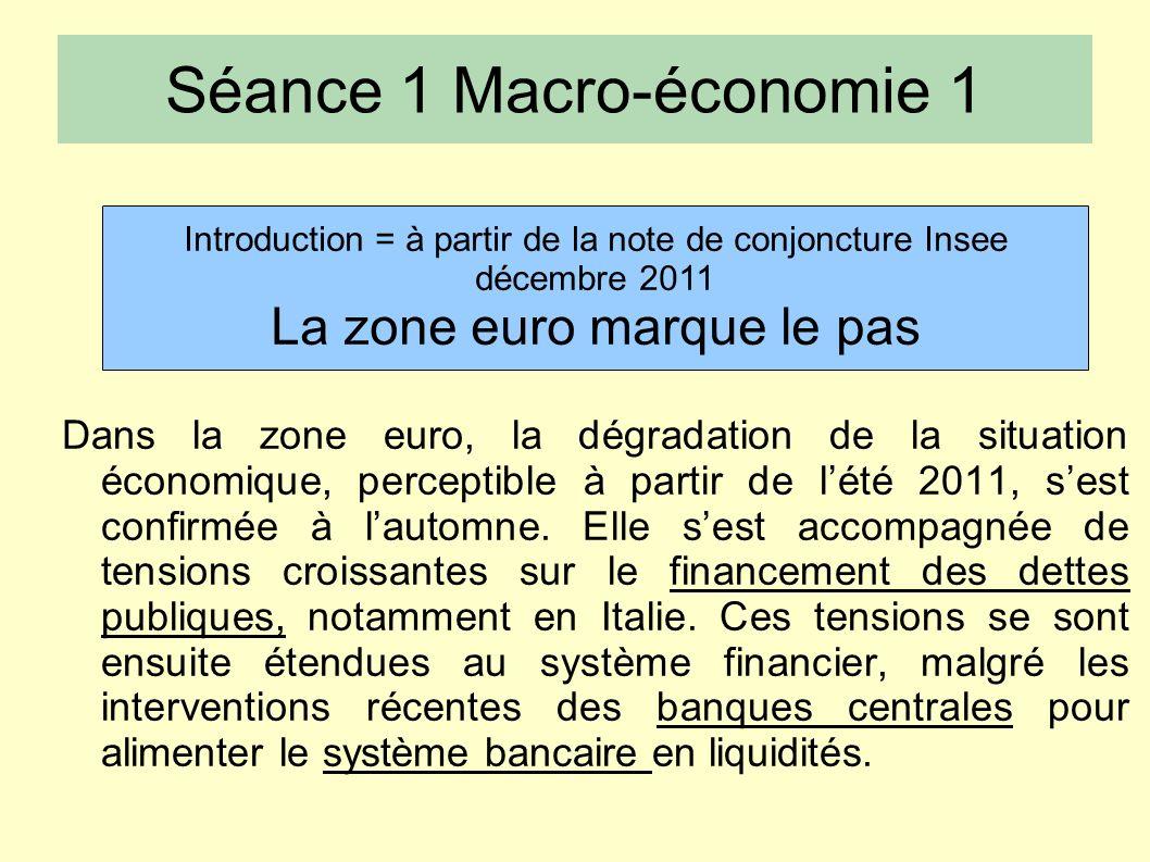 Séance 1 Macro-économie 1 Dans la zone euro, la dégradation de la situation économique, perceptible à partir de lété 2011, sest confirmée à lautomne.