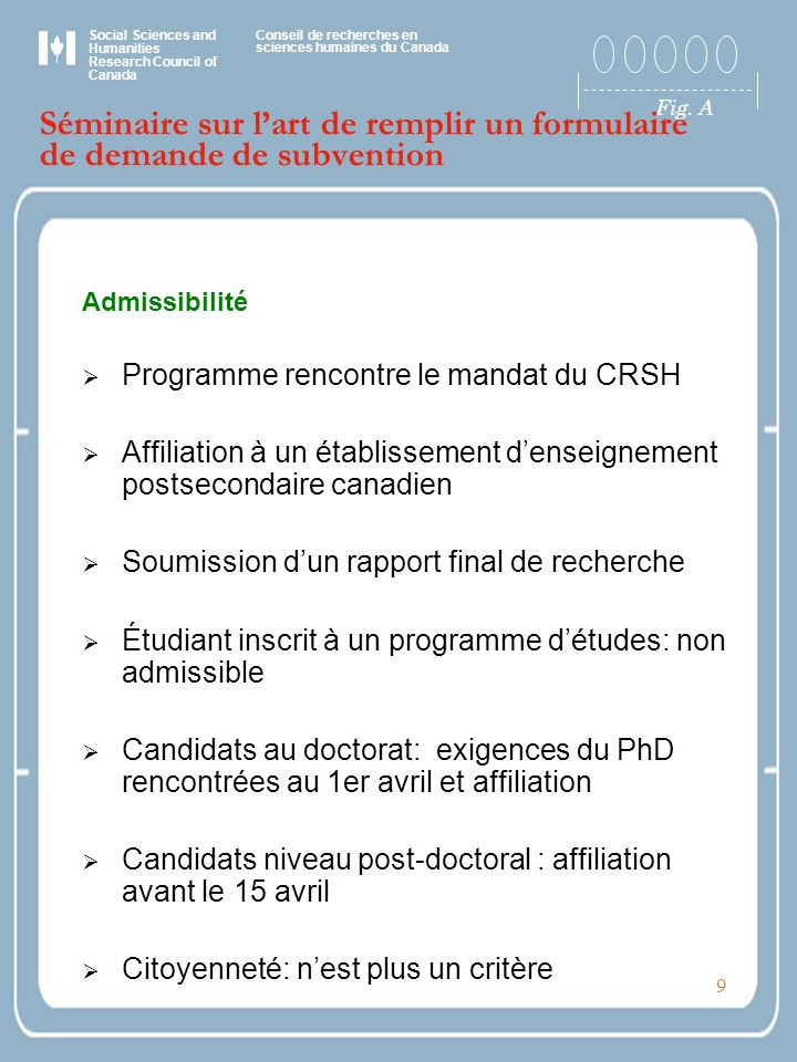 Social Sciences and Humanities Research Council of Canada Conseil de recherches en sciences humaines du Canada Fig. A 9 Séminaire sur lart de remplir