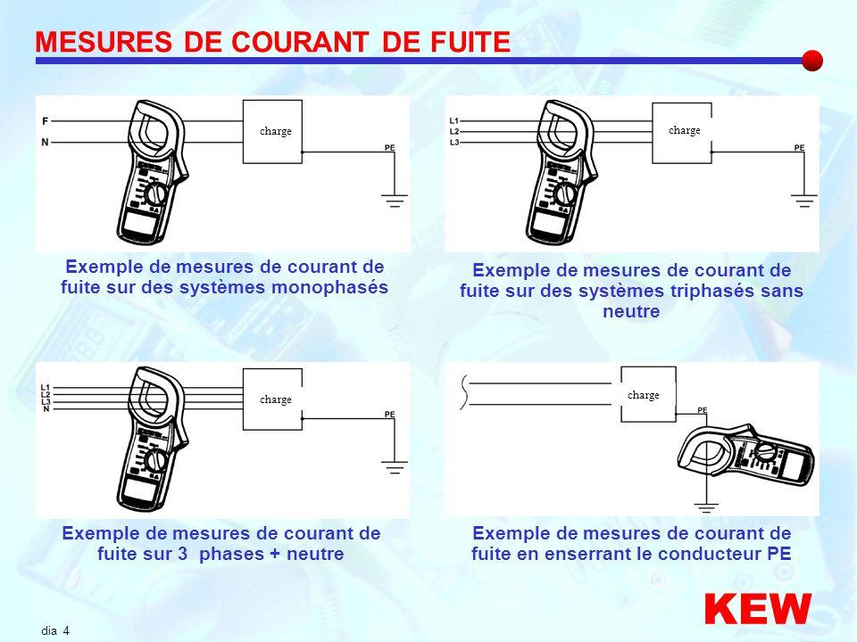 dia 4 Exemple de mesures de courant de fuite sur des systèmes monophasés MESURES DE COURANT DE FUITE Exemple de mesures de courant de fuite sur des sy