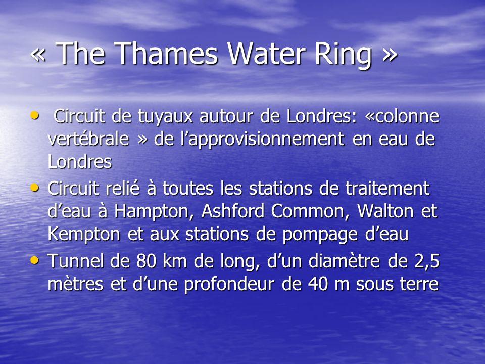 « The Thames Water Ring » Circuit de tuyaux autour de Londres: «colonne vertébrale » de lapprovisionnement en eau de Londres Circuit de tuyaux autour