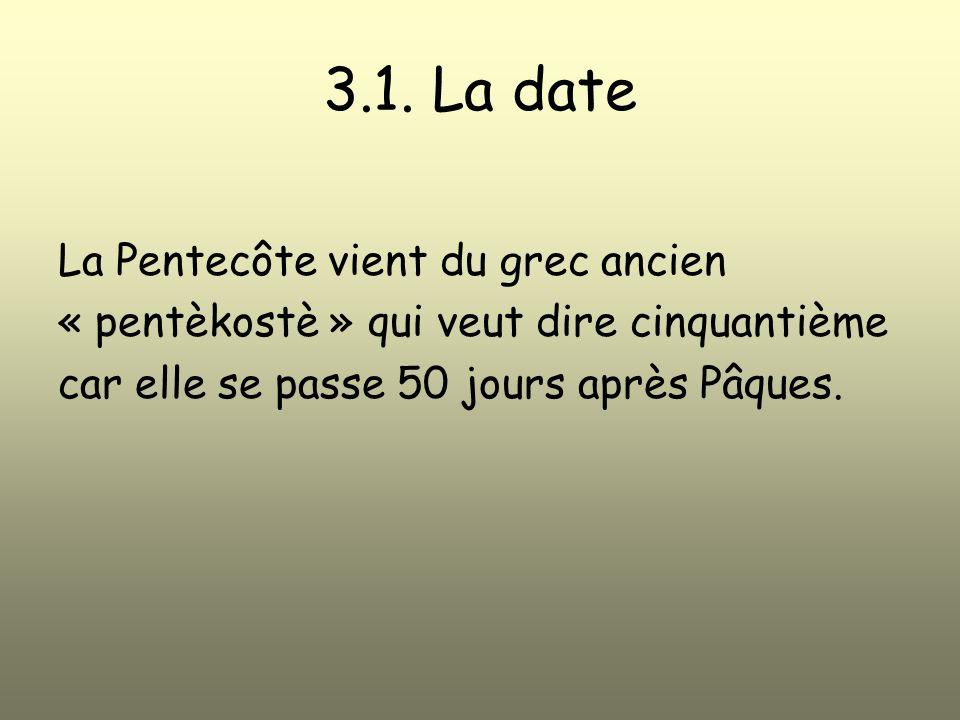 3.1. La date La Pentecôte vient du grec ancien « pentèkostè » qui veut dire cinquantième car elle se passe 50 jours après Pâques.