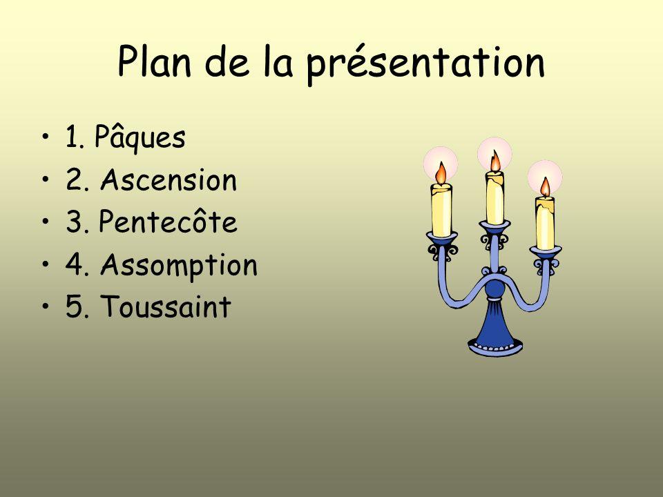 Plan de la présentation 1. Pâques 2. Ascension 3. Pentecôte 4. Assomption 5. Toussaint