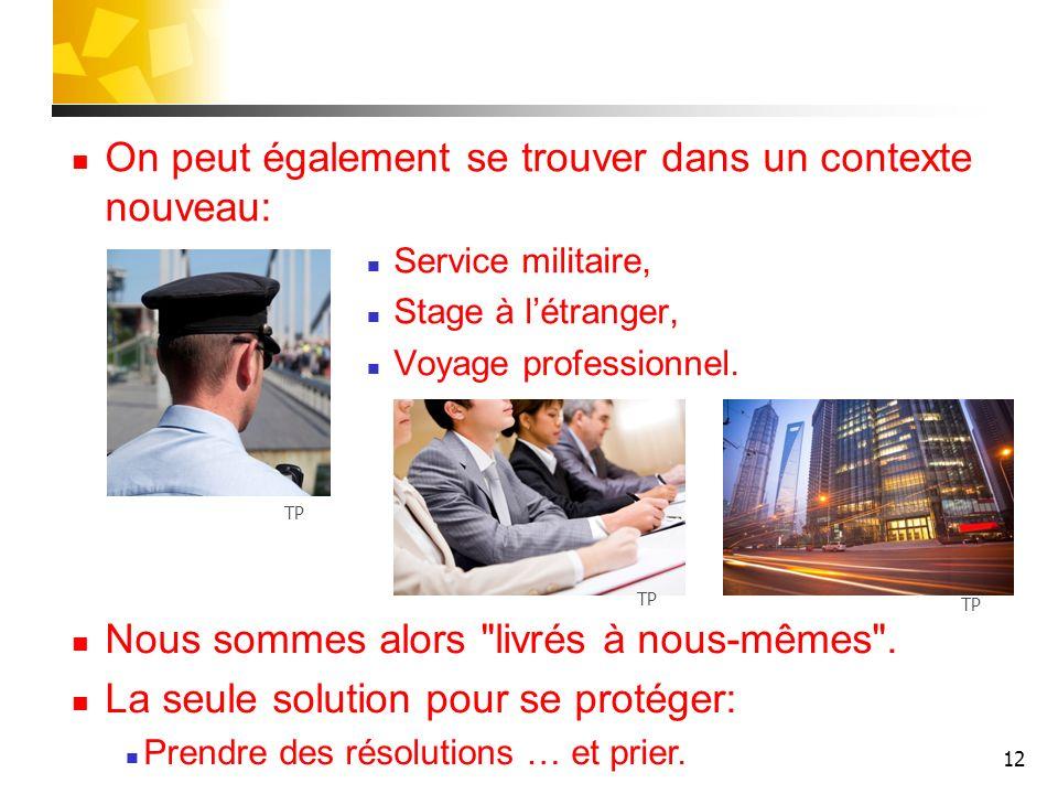 12 On peut également se trouver dans un contexte nouveau: Service militaire, Stage à létranger, Voyage professionnel. Nous sommes alors