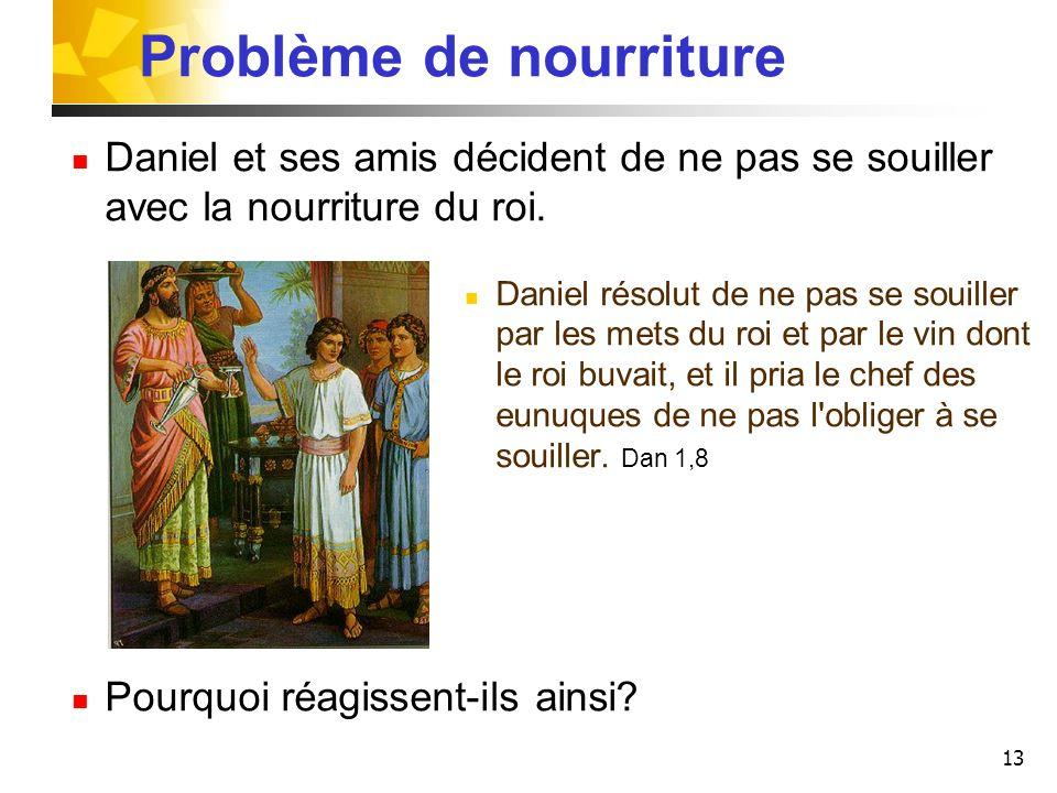 13 Problème de nourriture Daniel et ses amis décident de ne pas se souiller avec la nourriture du roi. Daniel résolut de ne pas se souiller par les me