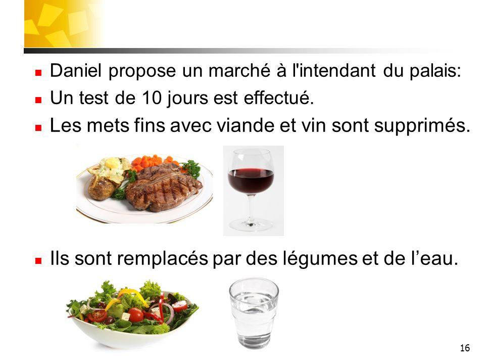 16 Daniel propose un marché à l'intendant du palais: Un test de 10 jours est effectué. Les mets fins avec viande et vin sont supprimés. Ils sont rempl