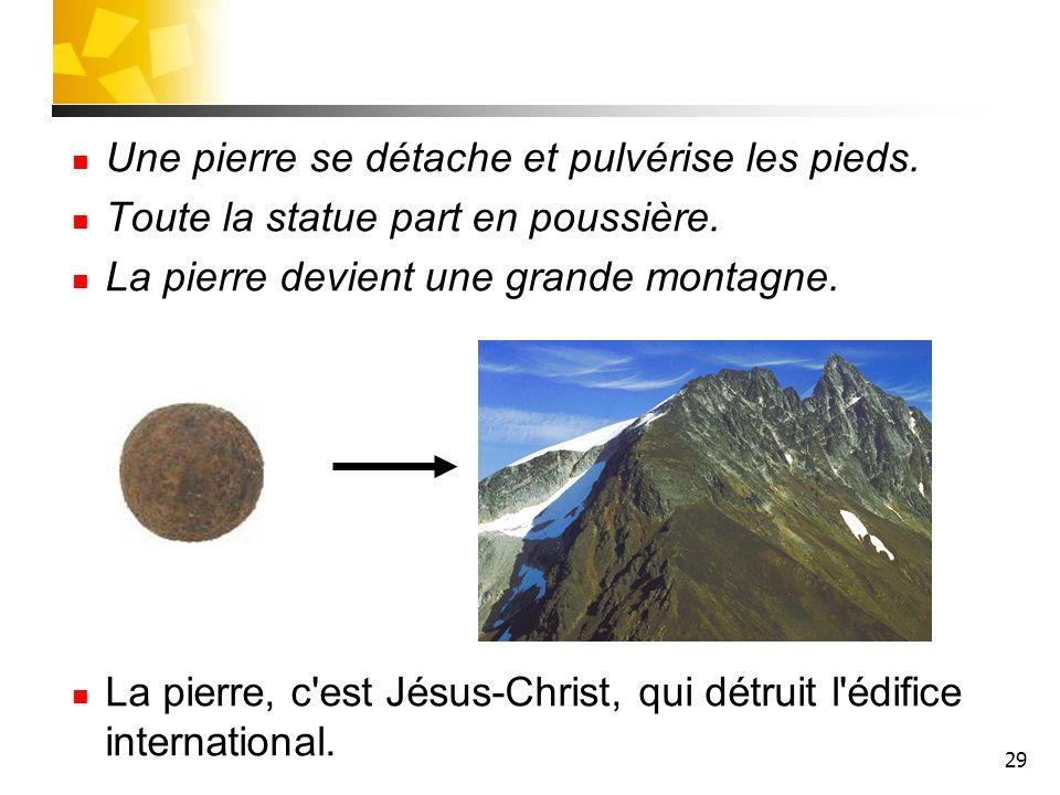 29 Une pierre se détache et pulvérise les pieds. Toute la statue part en poussière. La pierre devient une grande montagne. La pierre, c'est Jésus-Chri