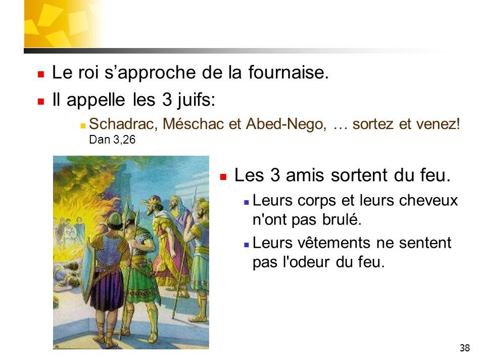 38 Le roi sapproche de la fournaise. Il appelle les 3 juifs: Schadrac, Méschac et Abed-Nego, … sortez et venez! Dan 3,26 Les 3 amis sortent du feu. Le