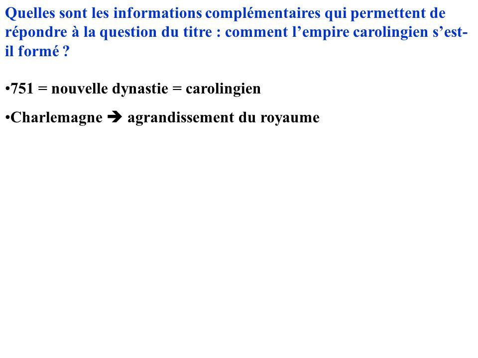 Quelles sont les informations complémentaires qui permettent de répondre à la question du titre : comment lempire carolingien sest- il formé ? 751 = n