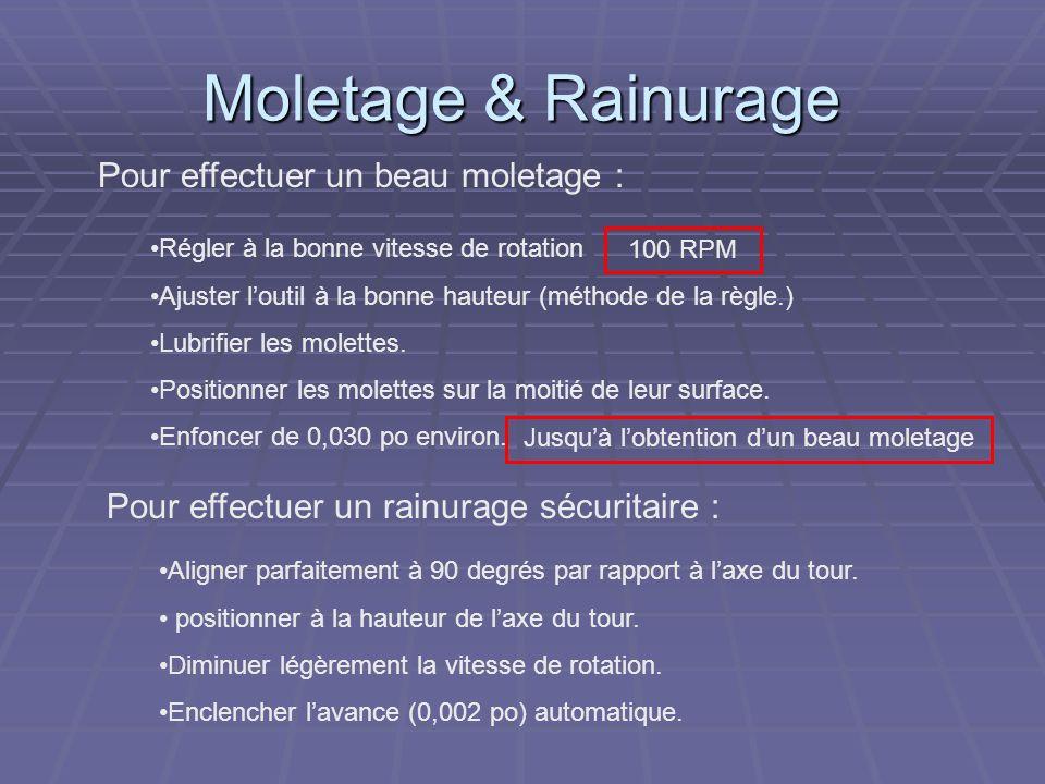 Moletage & Rainurage Pour effectuer un beau moletage : Régler à la bonne vitesse de rotation Ajuster loutil à la bonne hauteur (méthode de la règle.)