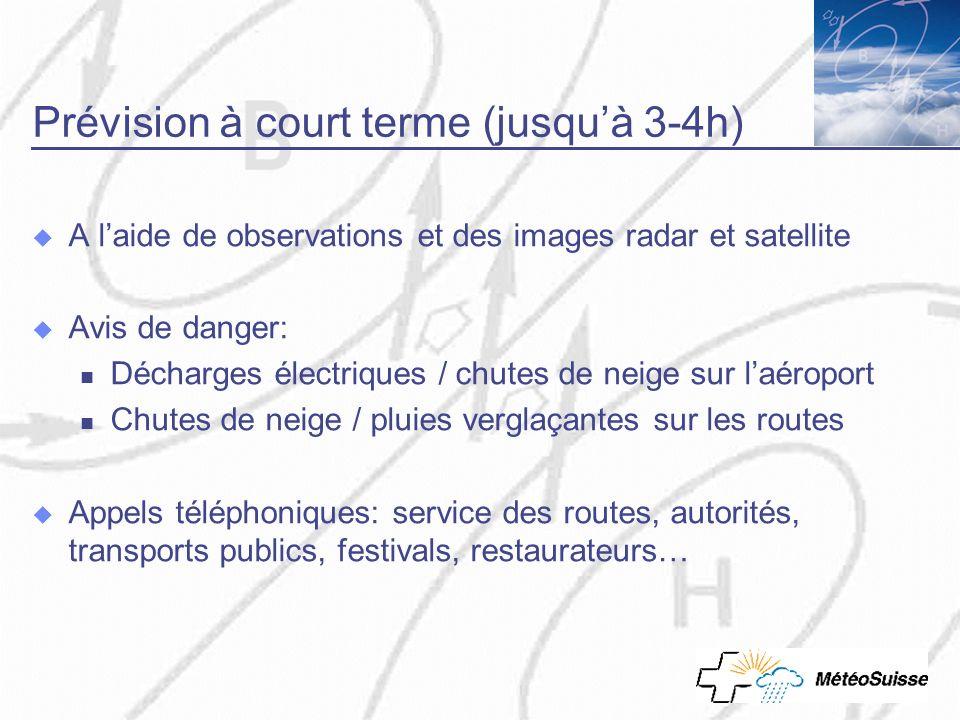 Prévision à court terme (jusquà 3-4h) A laide de observations et des images radar et satellite Avis de danger: Décharges électriques / chutes de neige