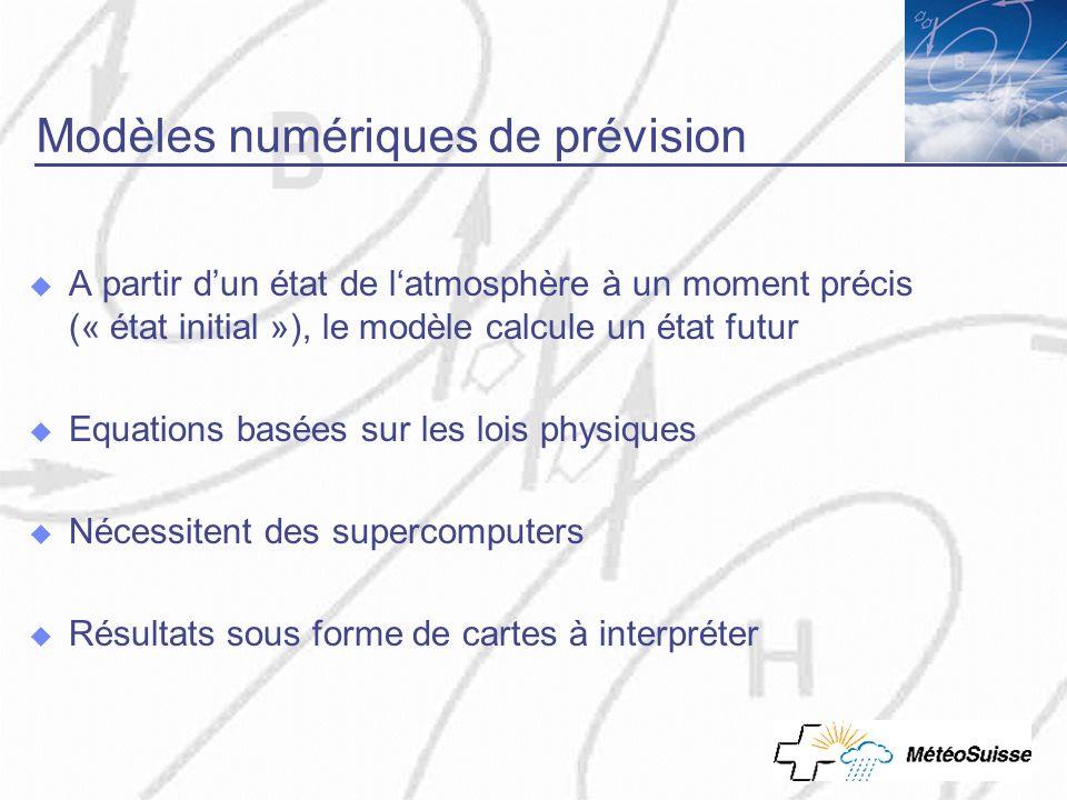 Modèles numériques de prévision A partir dun état de latmosphère à un moment précis (« état initial »), le modèle calcule un état futur Equations basé