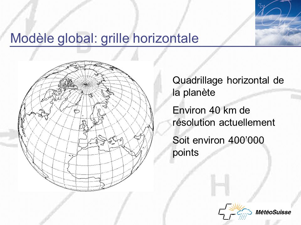 Modèle global: grille horizontale Quadrillage horizontal de la planète Environ 40 km de résolution actuellement Soit environ 400000 points