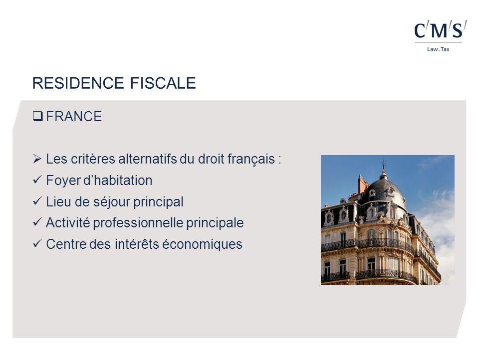 FRANCE Les critères alternatifs du droit français : Foyer dhabitation Lieu de séjour principal Activité professionnelle principale Centre des intérêts économiques