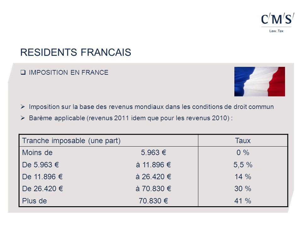IMPOSITION EN FRANCE Imposition sur la base des revenus mondiaux dans les conditions de droit commun Barème applicable (revenus 2011 idem que pour les revenus 2010) : Tranche imposable (une part)Taux Moins de5.963 0 % De 5.963 à 11.896 5,5 % De 11.896 à 26.420 14 % De 26.420 à 70.830 30 % Plus de70.830 41 %