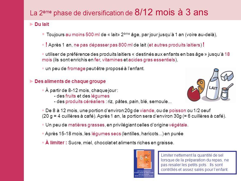 La 2 ème phase de diversification de 8/12 mois à 3 ans Du lait Toujours au moins 500 ml de « lait» 2 ème âge, par jour jusquà 1 an (voire au-delà), .
