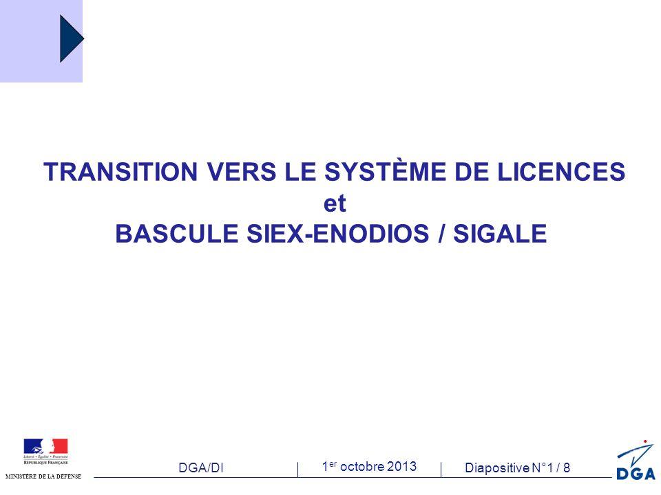 DGA/DI 1 er octobre 2013 Diapositive N°1 / 8 MINISTÈRE DE LA DÉFENSE TRANSITION VERS LE SYSTÈME DE LICENCES et BASCULE SIEX-ENODIOS / SIGALE