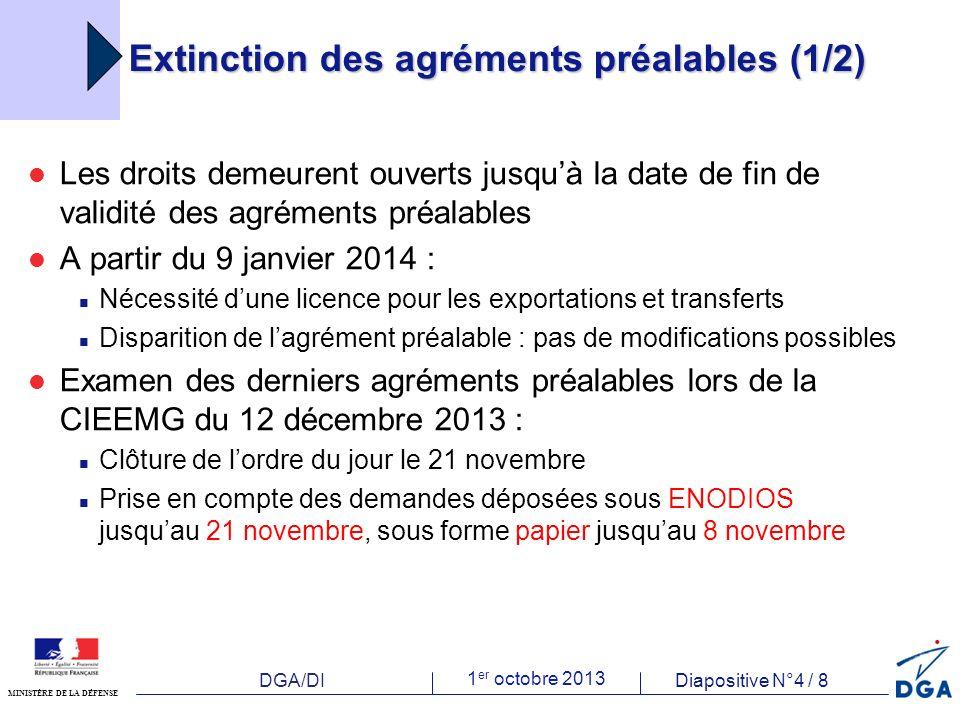 DGA/DI 1 er octobre 2013 Diapositive N°5 / 8 MINISTÈRE DE LA DÉFENSE Extinction des agréments préalables (2/2) Ouverture du guichet de dépôt de licences le 21 novembre 2013, en vue de leur délivrance à partir du 9 janvier 2014 Maintien de la procédure accélérée jusquau 8 janvier 2014, si urgence AVEREE A compter du 9 janvier 2014, la DGA : informera les opérateurs dont les demandes nont pas pu faire lobjet dune instruction complète les invitera à déposer une demande de licence