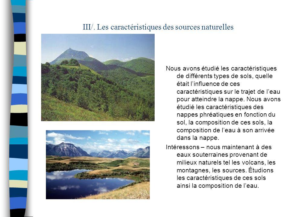 III/. Les caractéristiques des sources naturelles Nous avons étudié les caractéristiques de différents types de sols, quelle était linfluence de ces c