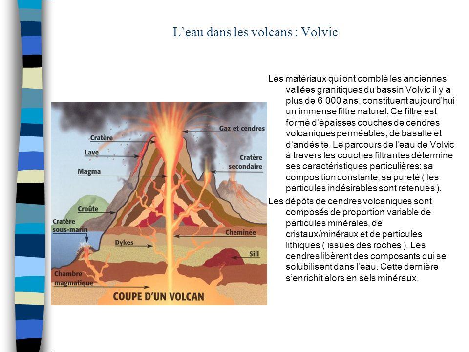 Leau dans les volcans : Volvic Les matériaux qui ont comblé les anciennes vallées granitiques du bassin Volvic il y a plus de 6 000 ans, constituent a
