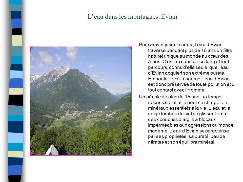 Leau dans les montagnes: Evian Pour arriver jusquà nous, leau dEvian traverse pendant plus de 15 ans un filtre naturel unique au monde au cœur des Alp