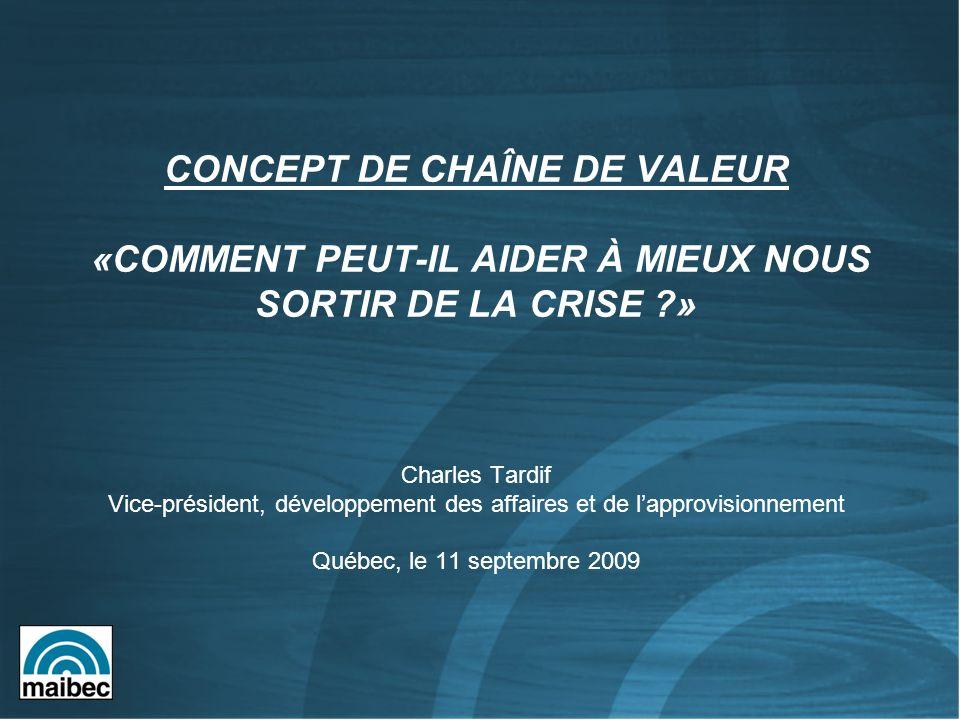 CONCEPT DE CHAÎNE DE VALEUR «COMMENT PEUT-IL AIDER À MIEUX NOUS SORTIR DE LA CRISE ?» Charles Tardif Vice-président, développement des affaires et de lapprovisionnement Québec, le 11 septembre 2009