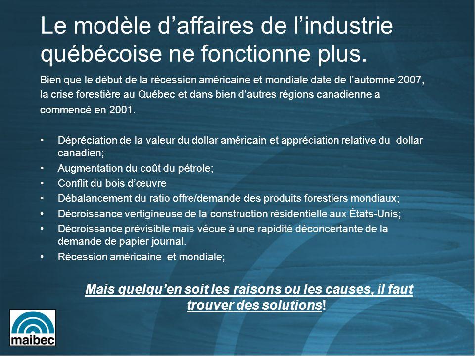 Le modèle daffaires de lindustrie québécoise ne fonctionne plus. Bien que le début de la récession américaine et mondiale date de lautomne 2007, la cr