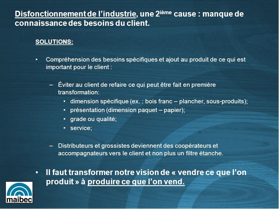 SOLUTIONS: Compréhension des besoins spécifiques et ajout au produit de ce qui est important pour le client : –Éviter au client de refaire ce qui peut être fait en première transformation: dimension spécifique (ex.