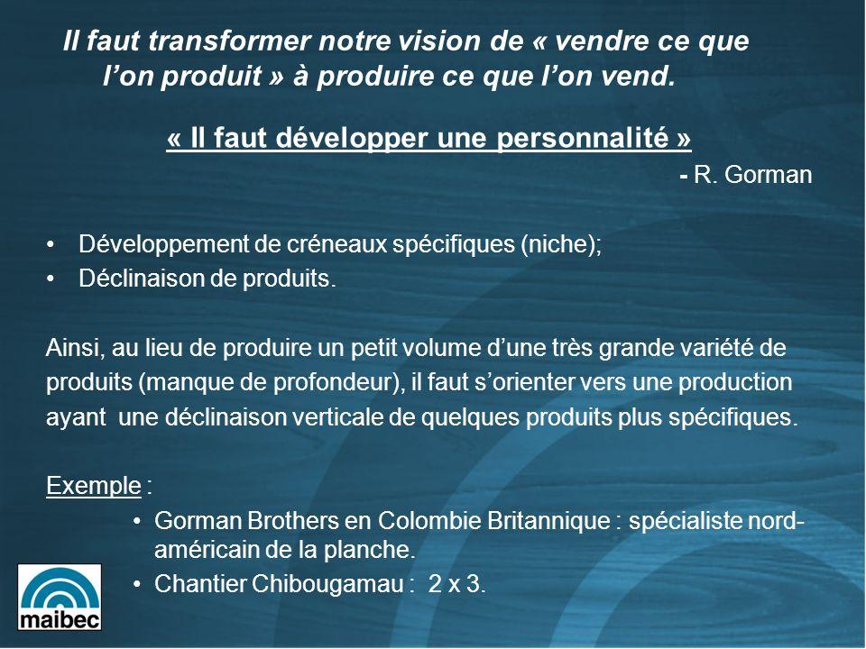 « Il faut développer une personnalité » - R. Gorman Développement de créneaux spécifiques (niche); Déclinaison de produits. Ainsi, au lieu de produire
