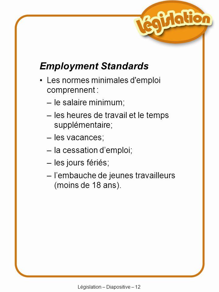 Législation – Diapositive – 12 –le salaire minimum; –les heures de travail et le temps supplémentaire; –les vacances; –la cessation demploi; –les jours fériés; –lembauche de jeunes travailleurs (moins de 18 ans).
