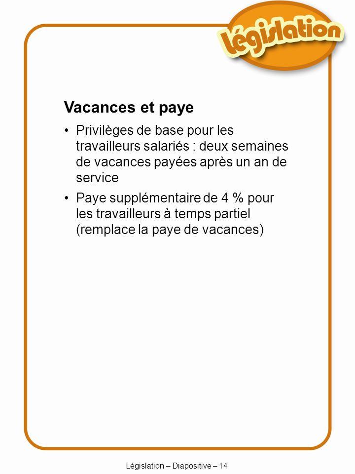 Législation – Diapositive – 14 Vacances et paye Privilèges de base pour les travailleurs salariés : deux semaines de vacances payées après un an de service Paye supplémentaire de 4 % pour les travailleurs à temps partiel (remplace la paye de vacances)