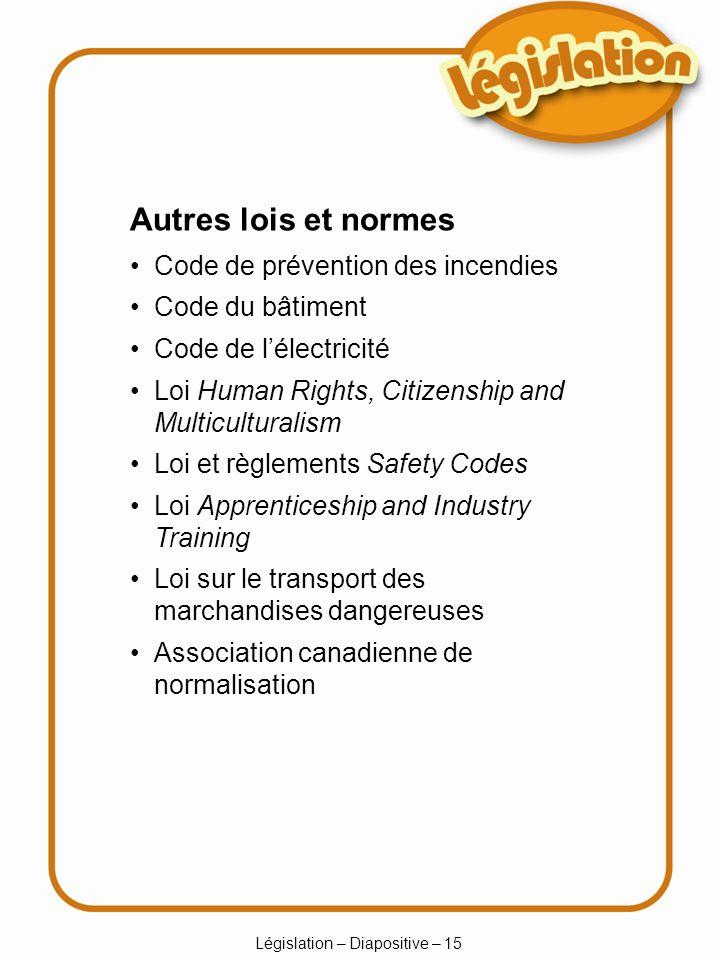 Législation – Diapositive – 15 Autres lois et normes Code de prévention des incendies Code du bâtiment Code de lélectricité Loi Human Rights, Citizens
