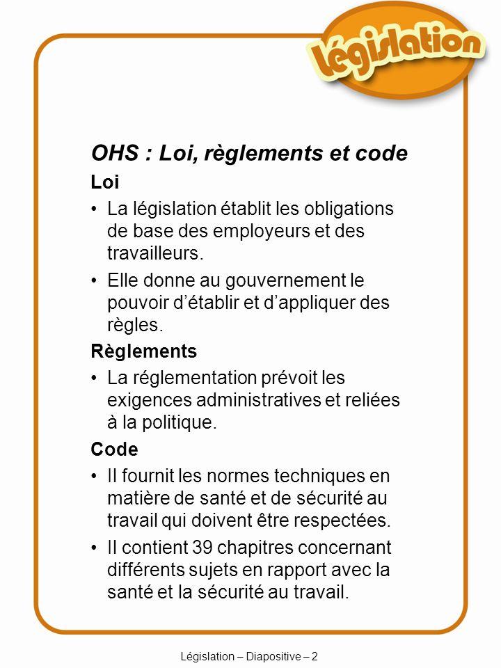 Législation – Diapositive – 13 Dans certaines industries, les heures de temps supplémentaires sont différentes (les ambulances, la réparation et lentretien de puits de pétrole, le camionnage, le taxi).