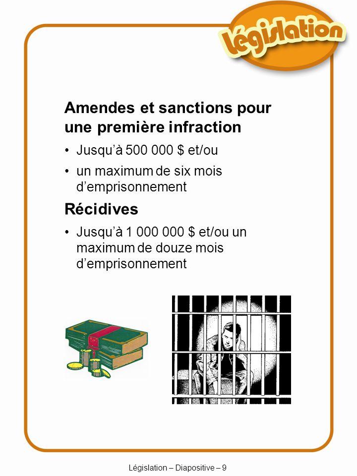 Législation – Diapositive – 9 Jusquà 500 000 $ et/ou un maximum de six mois demprisonnement Récidives Jusquà 1 000 000 $ et/ou un maximum de douze mois demprisonnement Amendes et sanctions pour une première infraction