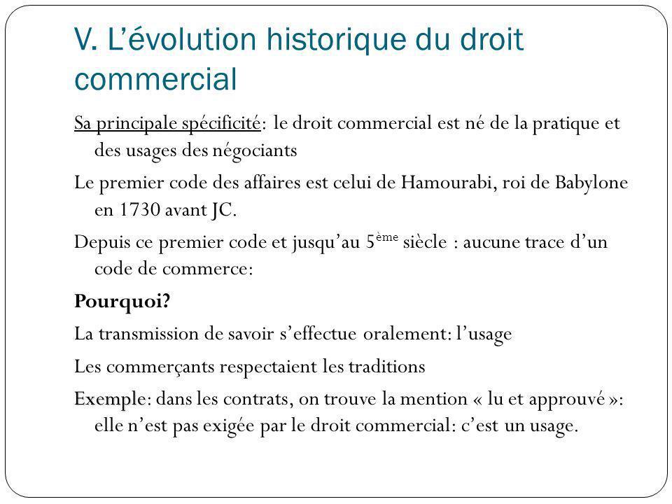 V. Lévolution historique du droit commercial Sa principale spécificité: le droit commercial est né de la pratique et des usages des négociants Le prem