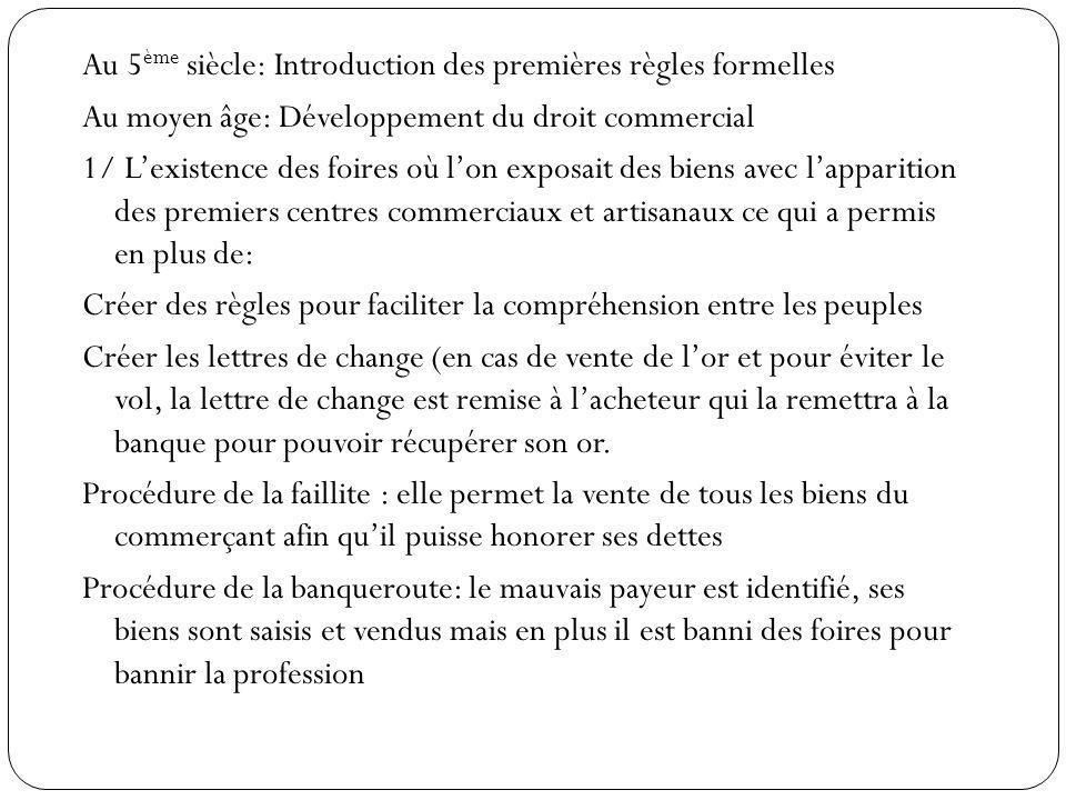 Au 5 ème siècle: Introduction des premières règles formelles Au moyen âge: Développement du droit commercial 1/ Lexistence des foires où lon exposait