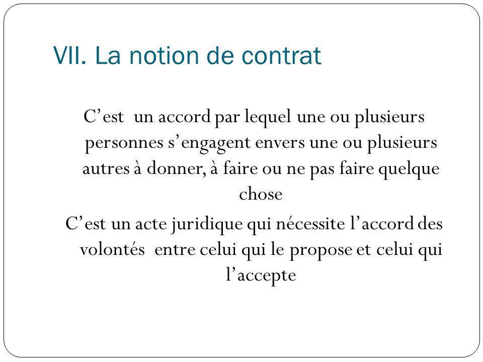 VII. La notion de contrat Cest un accord par lequel une ou plusieurs personnes sengagent envers une ou plusieurs autres à donner, à faire ou ne pas fa