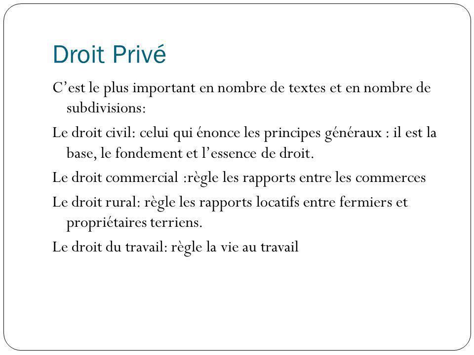 Droit Privé Cest le plus important en nombre de textes et en nombre de subdivisions: Le droit civil: celui qui énonce les principes généraux : il est