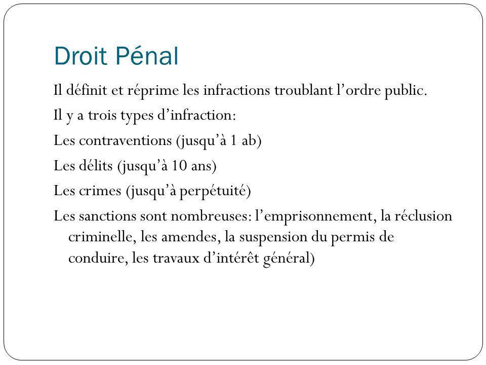 Droit Pénal Il définit et réprime les infractions troublant lordre public. Il y a trois types dinfraction: Les contraventions (jusquà 1 ab) Les délits
