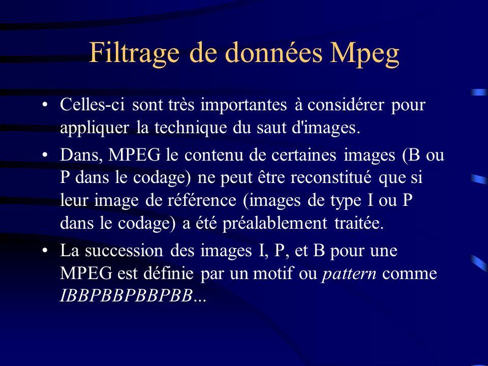 Filtrage de données Mpeg Celles-ci sont très importantes à considérer pour appliquer la technique du saut d images.