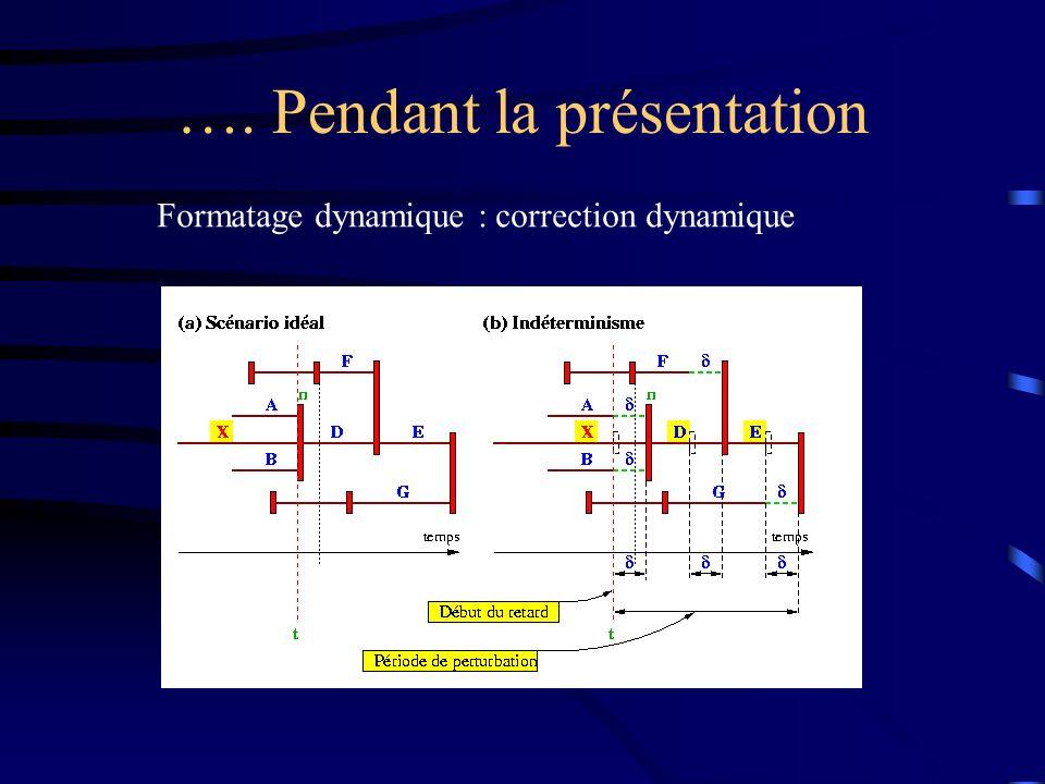 …. Pendant la présentation Formatage dynamique : correction dynamique