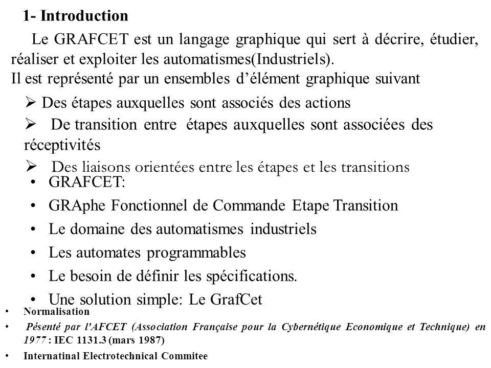 1- Introduction Le GRAFCET est un langage graphique qui sert à décrire, étudier, réaliser et exploiter les automatismes(Industriels). Il est représent