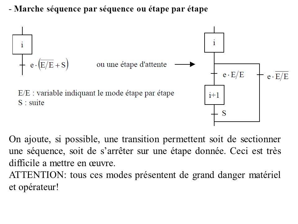 - Marche séquence par séquence ou étape par étape On ajoute, si possible, une transition permettent soit de sectionner une séquence, soit de sarrêter