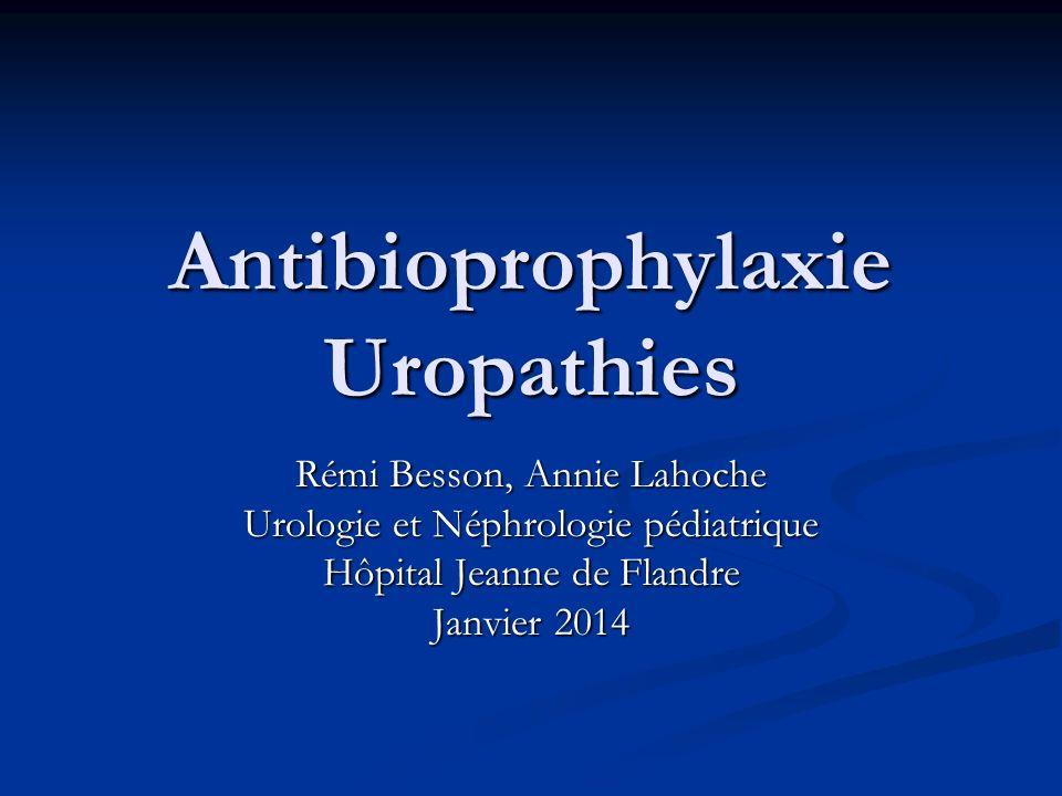 Antibioprophylaxie Uropathies Rémi Besson, Annie Lahoche Urologie et Néphrologie pédiatrique Hôpital Jeanne de Flandre Janvier 2014