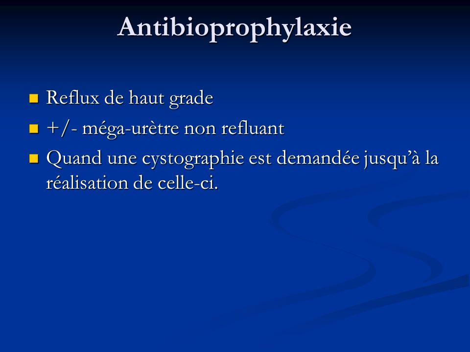 Antibioprophylaxie Reflux de haut grade Reflux de haut grade +/- méga-urètre non refluant +/- méga-urètre non refluant Quand une cystographie est dema